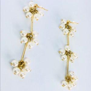 New! Pearls Dangle Linear Drop Earrings Gold
